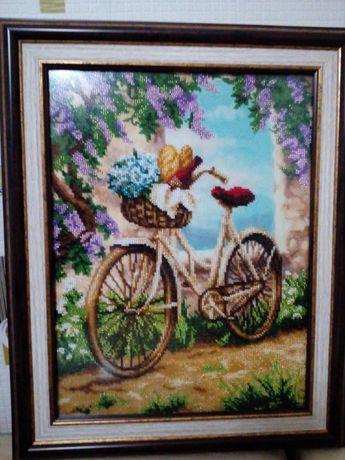 "Картина вишита бісером ""Велосипед"""