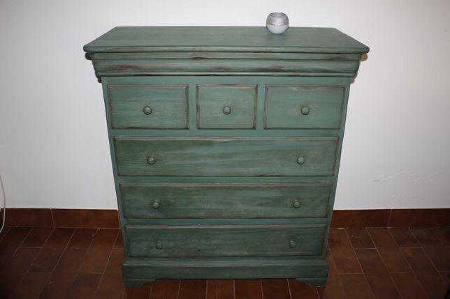 Comoda em madeira - Estilo mexicano - Verde - Grande - Movel gavetas