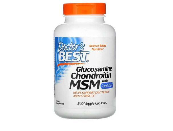 КАЧЕСТВО! 240вегетарианских капсул глюкозамин хондроитин МСМ с OptiMSM