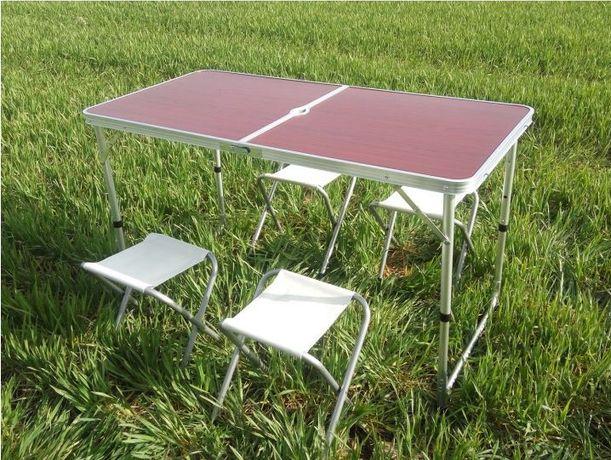 Стол для пикника раскладной Folding Table с стульями Коричневый