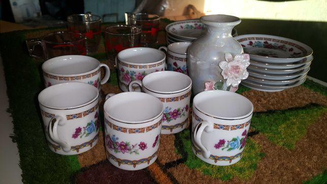 Filizanka na Herbate Podstawka Zestaw Porcelana