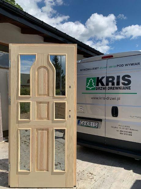 Drzwi Zewnętrzne Drewniane Oceplane Góralskie R4 OD RĘKI KRIS DRZWI