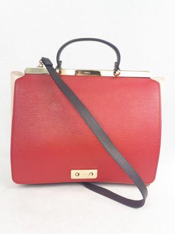 Nowa torebka ekskluzywna FURLA czerwona beżowa brąz kuferek biznes