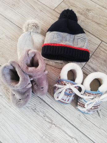 Buty, czapki zimowe