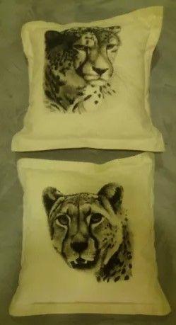 2 Almofadas pintadas manualmente - origem Botswana - Pintura, arte