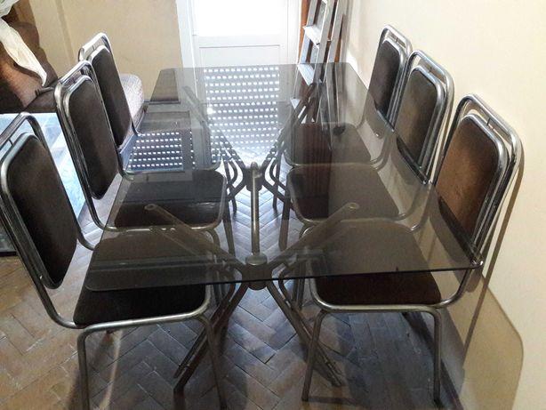 Mesa de Vidro Sala Jantar e 6 cadeiras