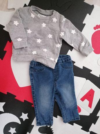 Jeansy plus bluza w gwiazdki sinsay r. 74 zestaw jogger legginsy