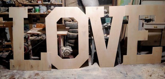 Napis, litery LOVE na wesele, ślub duże