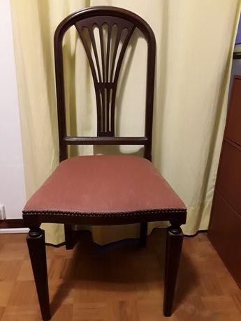 Cadeira em Mogno e Veludo (Entrega em mão em Sines)