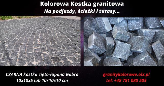 CZARNA kostka brukowa granitowa cięto-łupana, na podjazdy Promocja !!!