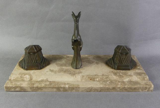 KAŁAMARZ na biurko Art Deco marmur antylopa