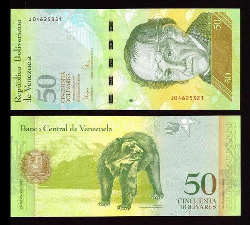 Banknot 50 BOLIVARES Wenezuela - Stan Bankowy UNC !!! Kolekcjonerskie