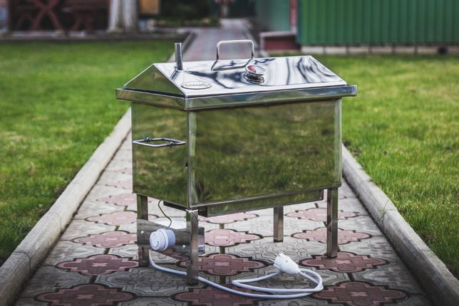 Электрическая коптильня из нержавейки. Термометр в подарок