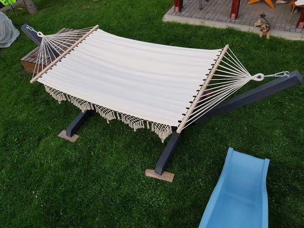 Hamak ogrodowy dwuosobowy drewniany solidny kantówka 10x10