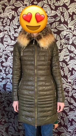 Куртка зима пуховик зимний натуральный мех лисица
