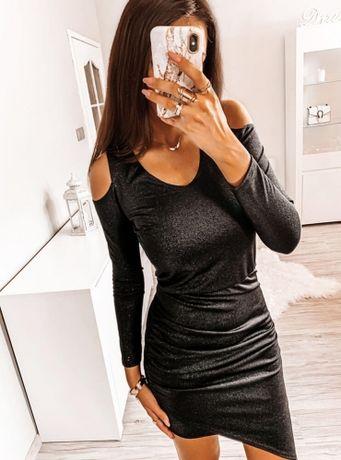 Błyszcząca sukienka z odkrytymi ramionami