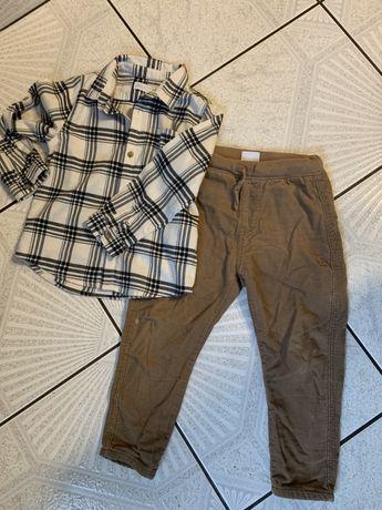 Komplet spodnie sztruksowe ocieplane i koszula zara 104