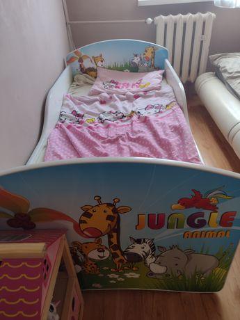 Łóżeczko łóżko dla dziecka zwierzęta plus materac i szuflada