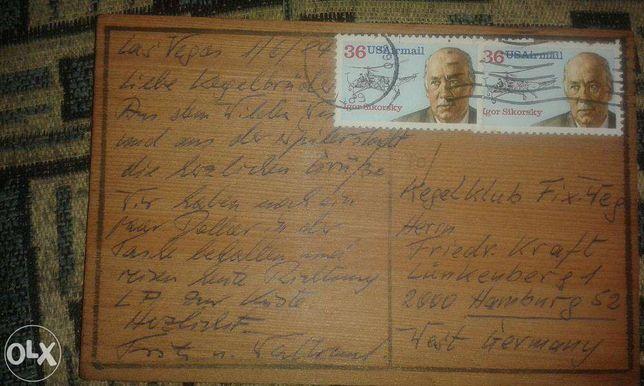 znaczki kartka pocztowa drewniana z las vegas