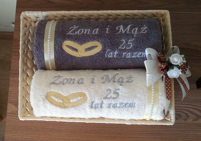 Komplet ręczników 70/140 cm z haftem prezent na wesele ślub, jubileusz