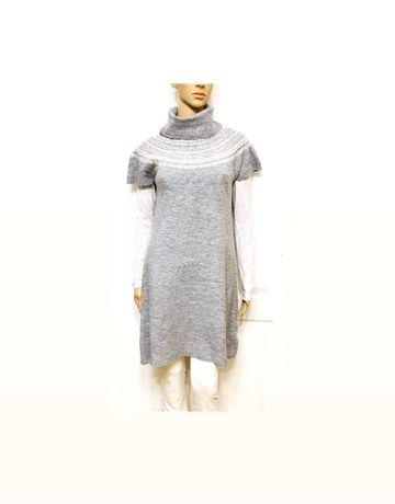 Зимнее серое платье туника М