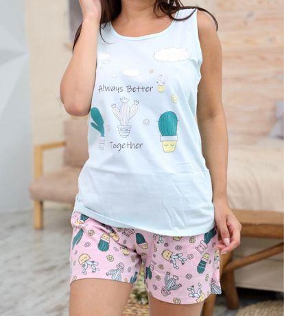 Шорты майка хлопок домашняя одежда пижама костюм комплект Турция