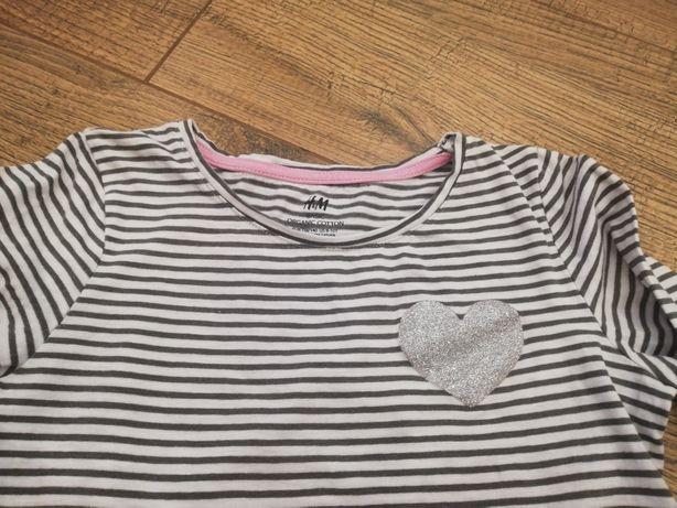 Bluzka paski czarno białe H&M 134