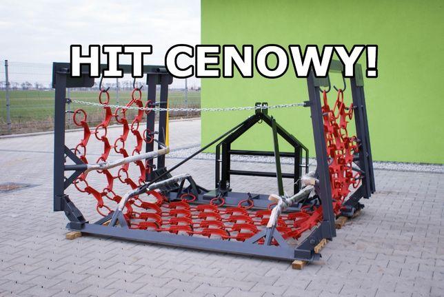 SZYBKA DOSTAWA Włóka łąkowo-polowa brona 3 metry 3 rzędy mechaniczna
