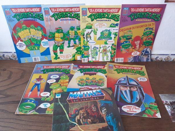 Livro anos 80 mestres do universo He-man e Tele BD Turtles tarta-herói