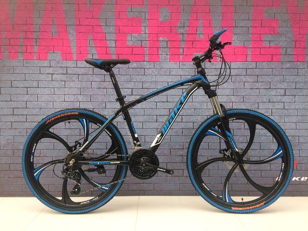 """Алюминиевый велосипед на литых дисках МАКЕ 26"""" рама 17"""" черно-голубой"""