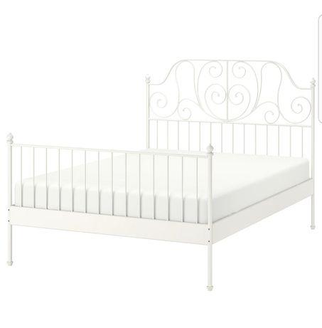 Łóżko metalowe białe Leirvik Ikea 180 × 200 . Stan bdb ze stelarzem