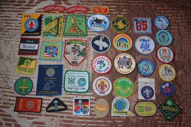 Emblematy, naszywki skautowe - 2 komplet, 36 sztuk - sprzedam
