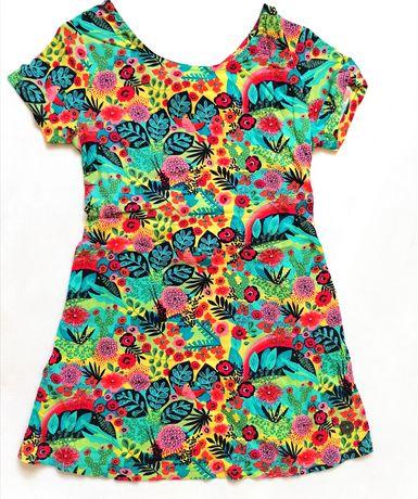 Śliczna letnia sukieneczka orginalny fason rozmiary 98,104,110