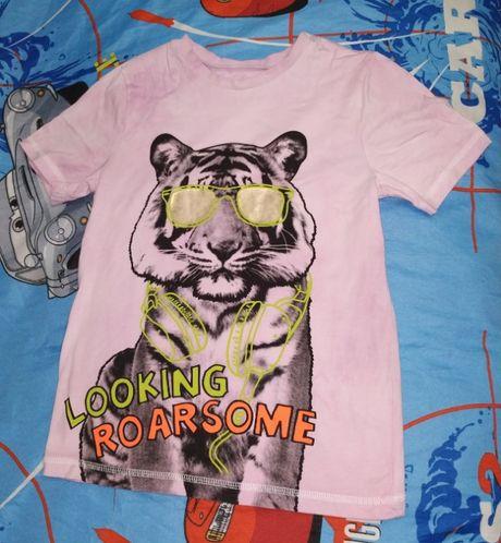 Круто! Футболка тигр с очках Розовая Крутая футболка с шикарным тигро