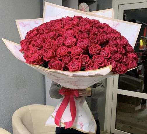 Розы с крупным бутоном букеты любой сложности 51/101/151 КРУГЛОСУТОЧНО
