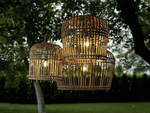 Lampa Rattanowa Bambusowa Boho Ogród, Balkon Pleciona INDONEZJA