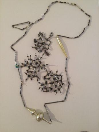 Елочные украшения из стекляруса, СССР, бусы и снежинки