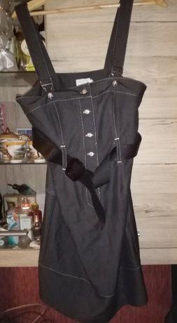 Sukienka jeansowa a'la ogrodniczka rozm. 12 z paskiem, na szelkach69