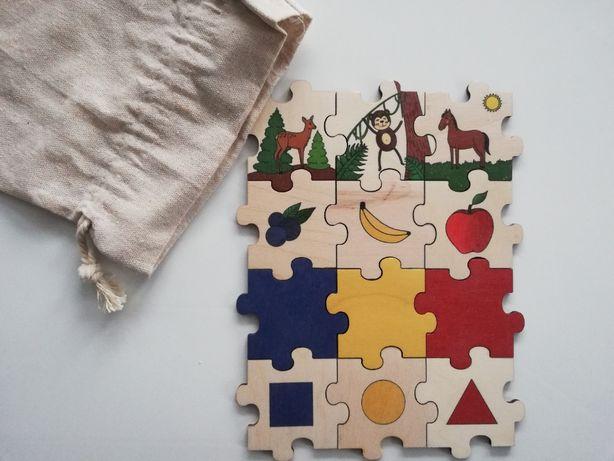 Drewniana układanka Montessori handmade