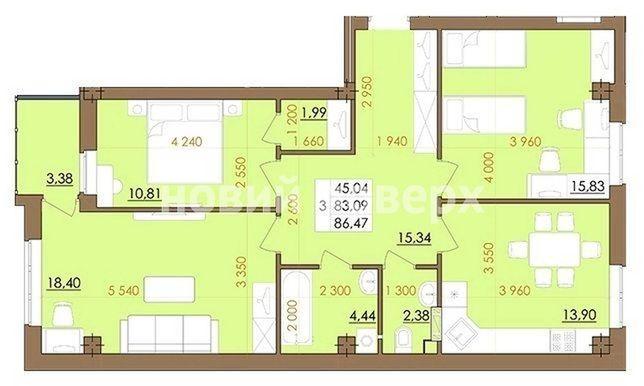 """3-кімнатна квартира в ЖК """"Европейський квартал"""" від КВП"""