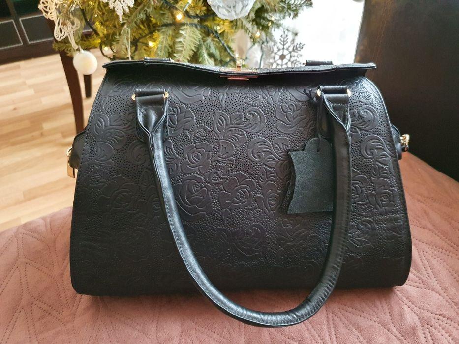 Нова чорна шкіряна сумка/ чорная кожаная сумка Мостиска - изображение 1