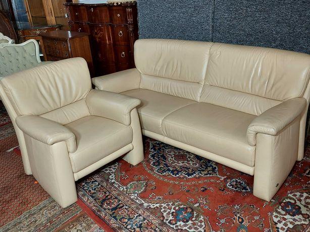 Wypoaczynek Sofa Fotel z Kremowej Skóry 3+1  z Niemiec