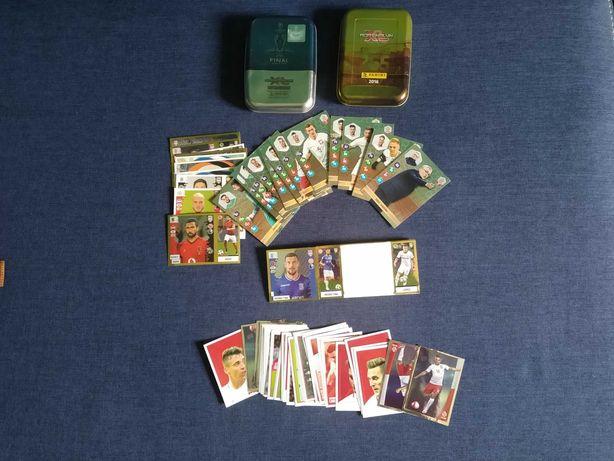 Pudełka do kart piłkarskich, karty, naklejki