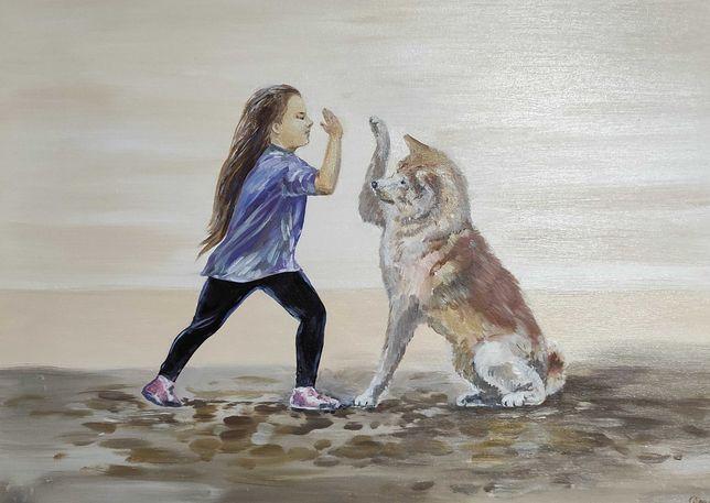Картина маслом. Девочка с собакой