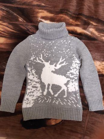 Теплый свитер на девочку 6-7 лет