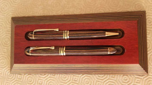 Conjunto caneta & esferográfica Madeira - NOVO