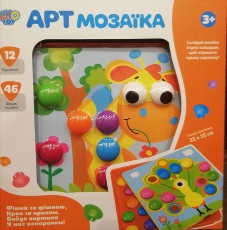 Мозаика для детей от 2-х лет Button Idea 808-7, 46 фишек,12 трафаретов