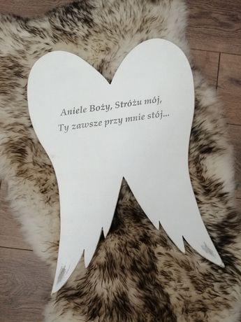 Skrzydła z modlitwą obraz na ścianę dla dziewczynki handmade