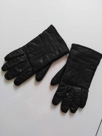 Rękawice czarne skórzane S