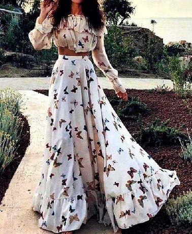 komplet w motyle bluzka hiszpanka i długa spódnica rozmiar XL